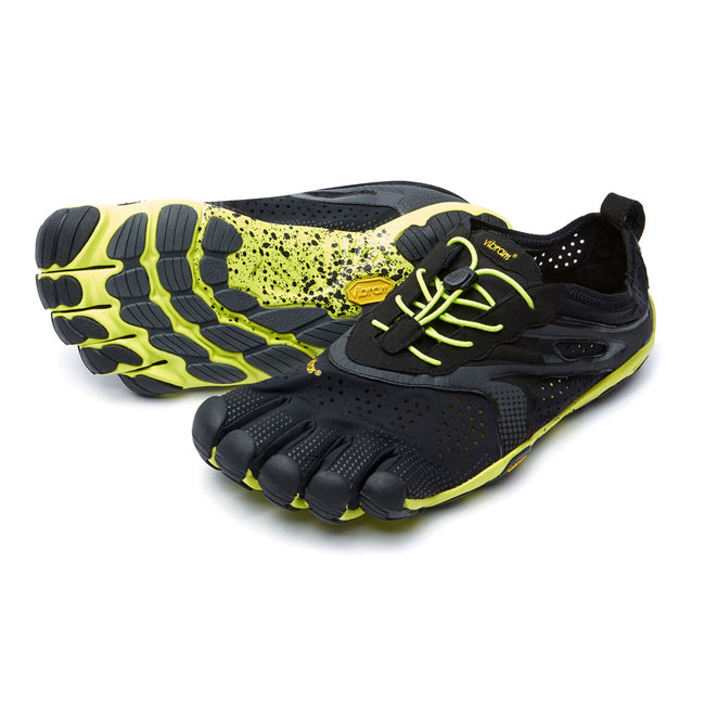 Men Vibram FiveFingers V-RUN Black / Yellow Outlet Online