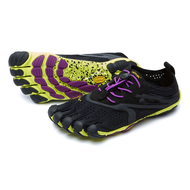 Women Vibram FiveFingers V-RUN Black / Yellow / Purple Outlet Online